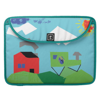 Red House & Tractor on Hills Kids Digital Art MacBook Pro Sleeve