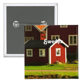 Red Houses in Sweden Button