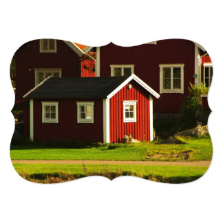 Red Houses in Sweden Card