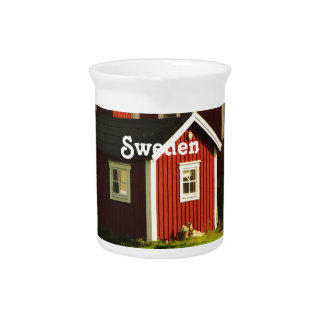 Red Houses in Sweden Drink Pitcher
