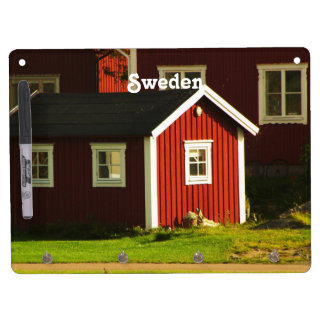 Red Houses in Sweden Dry Erase Board With Keychain Holder