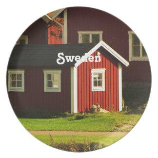 Red Houses in Sweden Melamine Plate