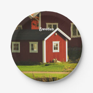 Red Houses in Sweden Paper Plate