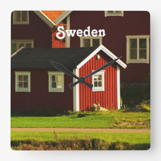 Red Houses in Sweden Square Wall Clock