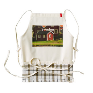 Red Houses in Sweden Zazzle HEART Apron