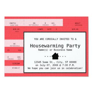 red housewarming concert ticket card
