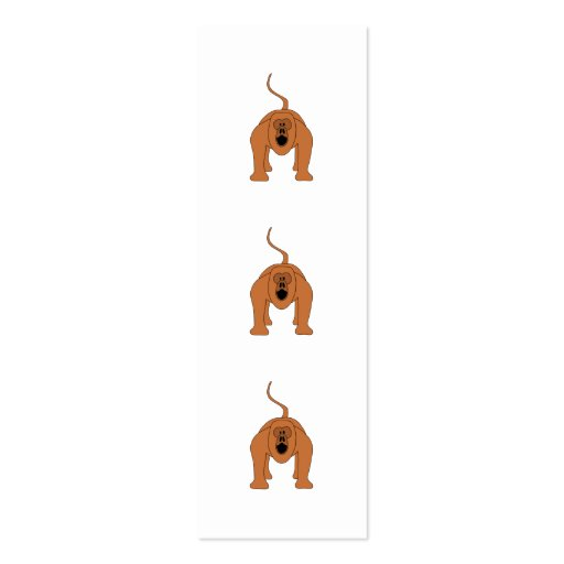 Red Howler Monkey Cartoon Double-Sided Mini Business Cards (Pack Of 20)
