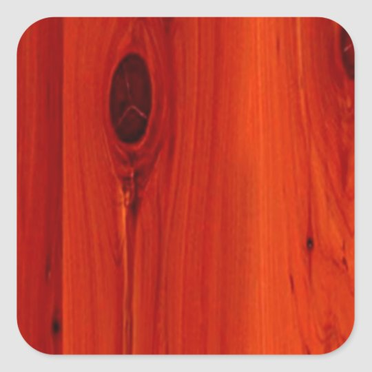 Red hue Cherry Wood grain Square Sticker