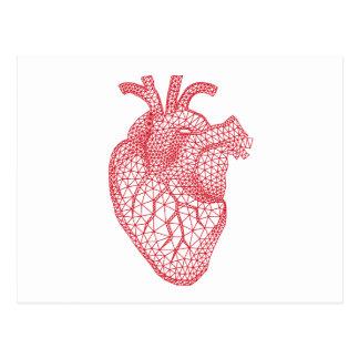 red human heart with geometric mesh pattern postcard