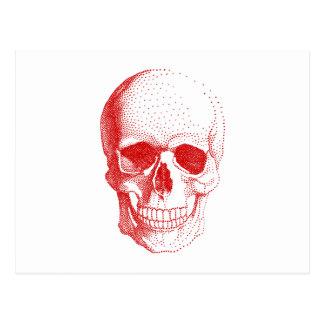 Red human skull postcard