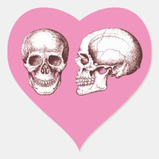 Red Human Skulls side face Heart Sticker