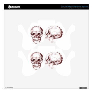 Red Human Skulls side face PS3 Controller Skins