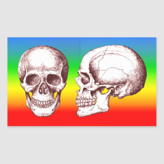 Red Human Skulls side face Rectangular Sticker