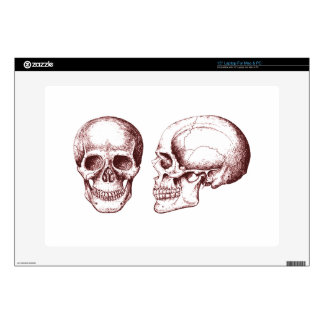 Red Human Skulls side face Skins For Laptops