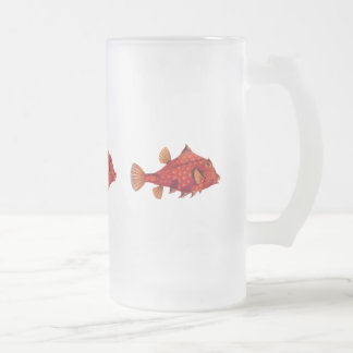 Red Humpback Turretfish Frosted Glass Beer Mug