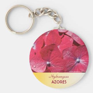 Red hydrangea basic round button keychain