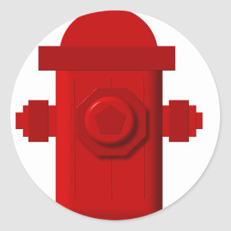 red hydrant items classic round sticker
