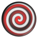 Red Hyonotic Spiral Party Plates