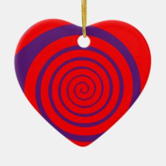 red hypnotic spiral image ceramic ornament