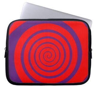 red hypnotic spiral image laptop sleeve
