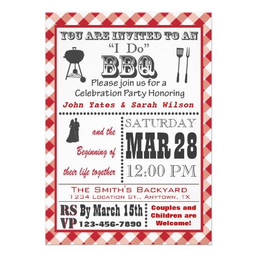 Red I Do Barbecue Invitation