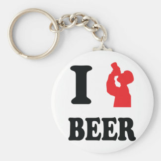 red I drink beer icon Keychain