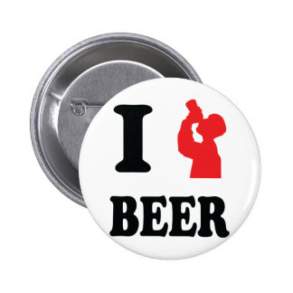 red I drink beer icon Pinback Button