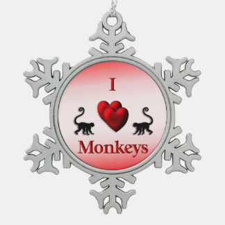 Red I Heart Monkeys Pewter Snowflake Ornament