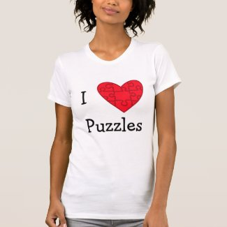 Red I Heart Puzzles Tshirts
