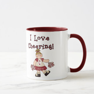 Red I Love Cheering Mug