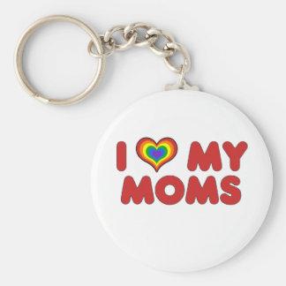 Red I Love My Moms Keychain
