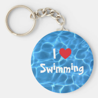 Red I Love Swimming Blue Swimming Pool Keychain