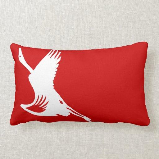 Modern Red Pillows : Red Ibis Silhouette-Modern Oriental Throw Pillow Zazzle