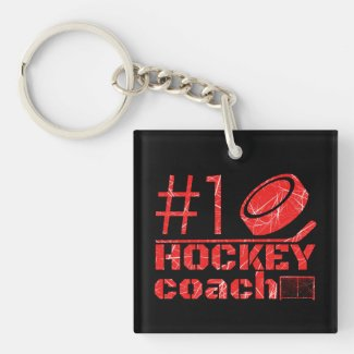Red ice - #1 hockey coach keychain