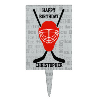 Red Ice Hockey Helmet and Sticks Typography Cake Topper