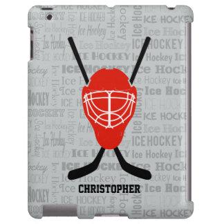 Red Ice Hockey Helmet and Sticks Typography