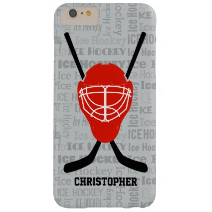 Red Ice Hockey Helmet and Sticks Typography Barely There iPhone 6 Plus Case