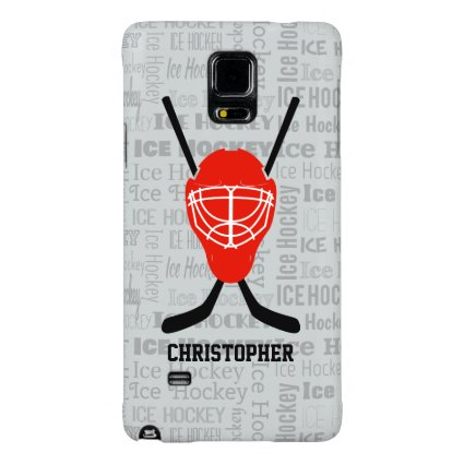 Red Ice Hockey Helmet and Sticks Typography Galaxy Note 4 Case