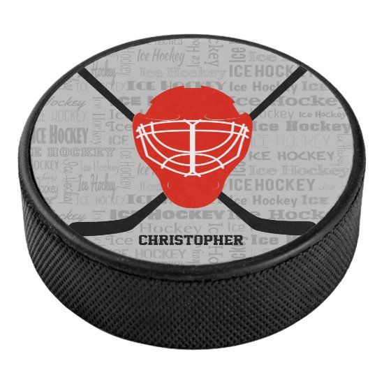 Red Ice Hockey Helmet and Sticks Typography Hockey Puck