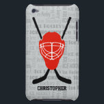 "Red Ice Hockey Helmet and Sticks Typography iPod Touch Case<br><div class=""desc"">An ice hockey sports design with a red ice hockey helmet with two black crossed hockey sticks behind it. The background features a subtle typography pattern of the word &quot;Ice Hockey&quot; written in different fonts. The design includes customizable text for the name of the ice hockey player or fan. If...</div>"
