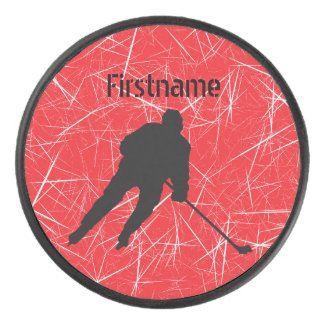 Red ice Player - Personalized Ice Hockey Puck