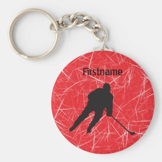 Red ice silhouette hockey player keychain