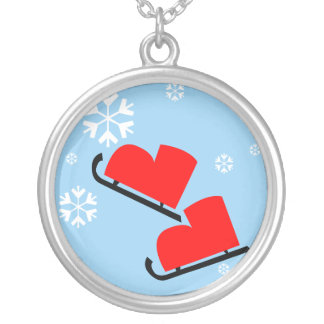 Red Ice Skates Silver Plated Necklace
