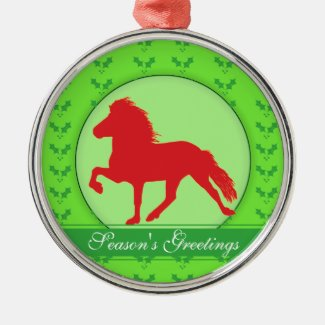 Red Icelandic Holly Season's Greetings Premium Christmas Ornament