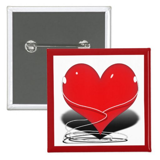 Red iHeart 2 Inch Square Button