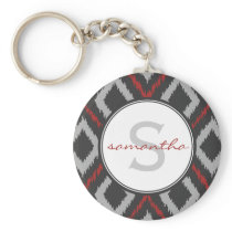 Red Ikat Monogram Keychain