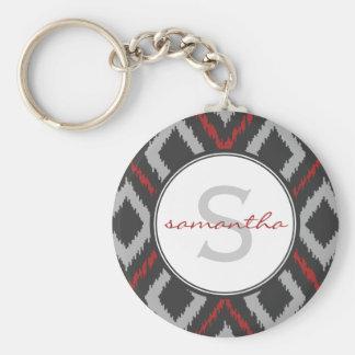 Red Ikat Monogram Keychain