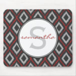 Red Ikat Monogram Mouse Pad