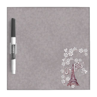 Red Illustration of Paris Eiffel Tower on Gray Dry-Erase Board