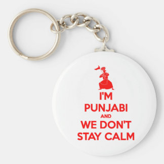 (RED) I'm Punjabi and We Don't Stay Calm Basic Round Button Keychain